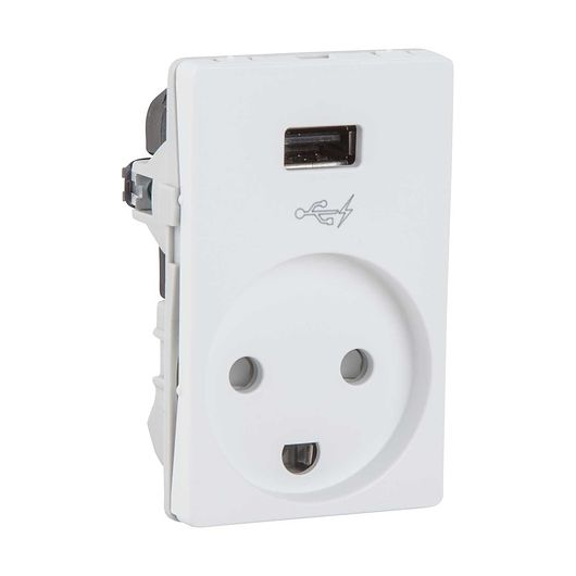 LK - Stikkontakt 1½ modul uden afbryder USB hvid