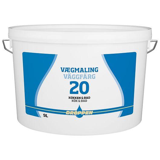 Droppen vægmaling glans 20 hvid 9 liter