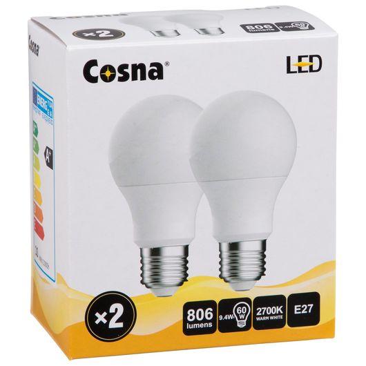 Cosna LED-pære 9,4W E27 A60 2-pak