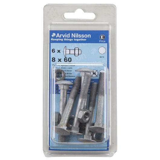 Arvid Nilsson - Bræddebolt M8 x 60 mm 6-pak