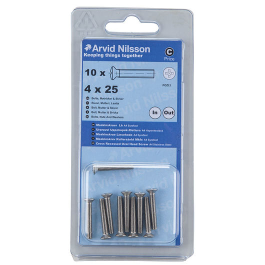 Arvid Nilsson - Maskinskrue A4 LH M4 x 25 mm 10pk