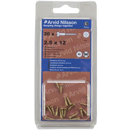 Arvid Nilsson træskrue messing 2,5 x 12 mm 20-pak