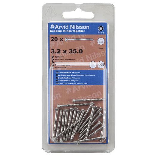 Arvid Nilsson - Glaslisteskrue A4 3,2 x 35 mm 20pk