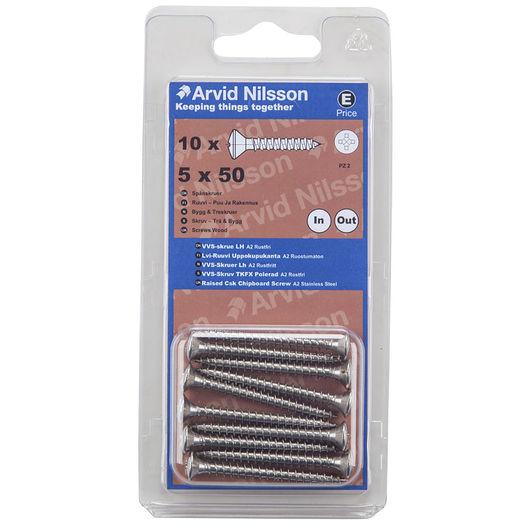 Arvid Nilsson VVS-skrue A2 5 x 50 mm 10-pak