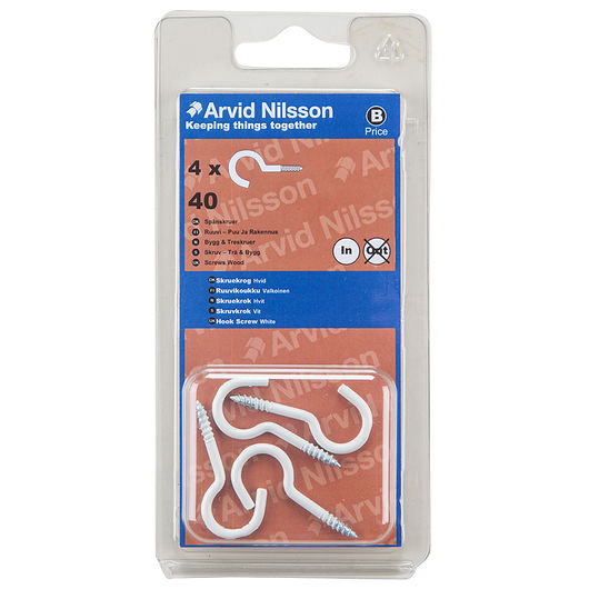 Arvid Nilsson - Skruekrog 40 mm hvid 4-pak