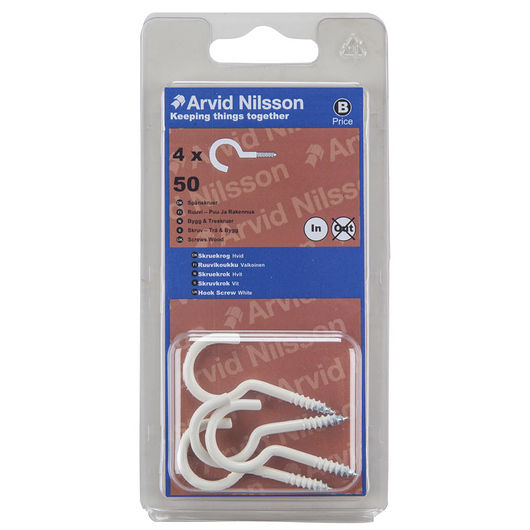Arvid Nilsson skruekrog 50 mm hvid 4-pak