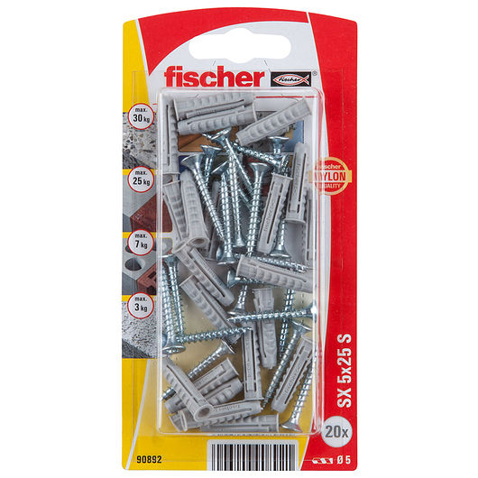 Fischer dyvel med skrue 5 x 25 mm 20-pak