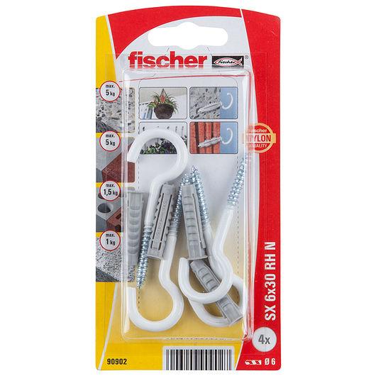 Fischer krogdyvel 6 x 30 mm hvid 4-pak