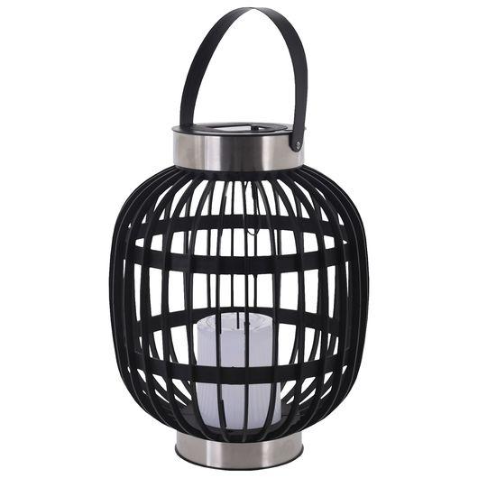 Solcellelampe oval sort/stål