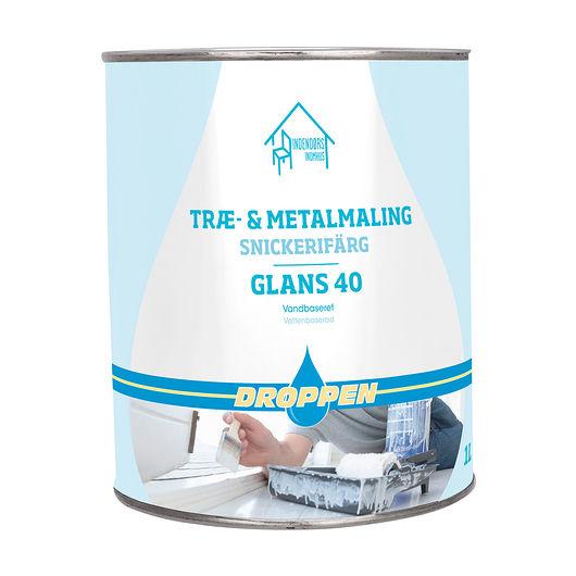 Droppen træ- og metalmaling glans 40 hvid 1 L