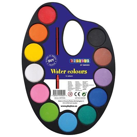Playbox - Palette med 12 vandfarver