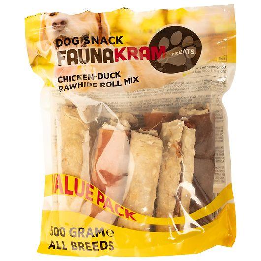 Snackruller af råhud med kylling og and - 500 g