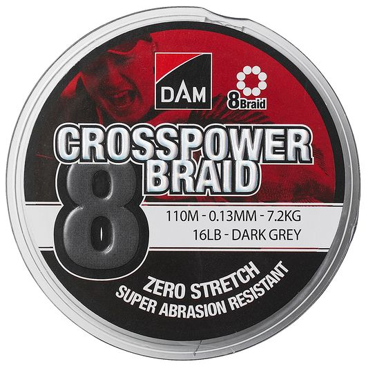 DAM - Crosspower 8-braid 0,13 mm - grå