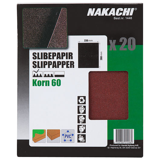 Nakachi - Slibepapir 23 x 28 cm K60 20 stk.