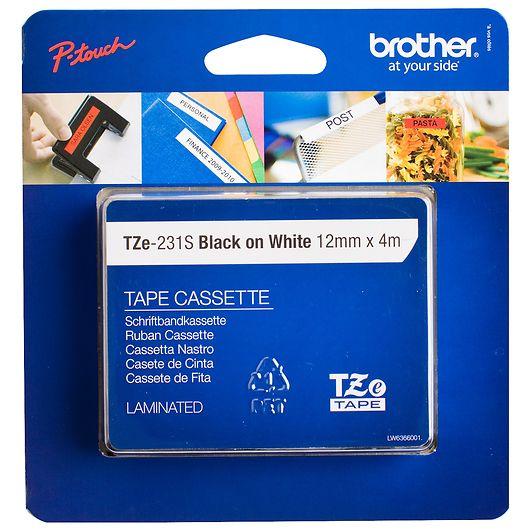 Brother - TZ tape 4 m - hvid/sort
