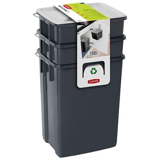 Affaldssorteringssæt med 3 spande