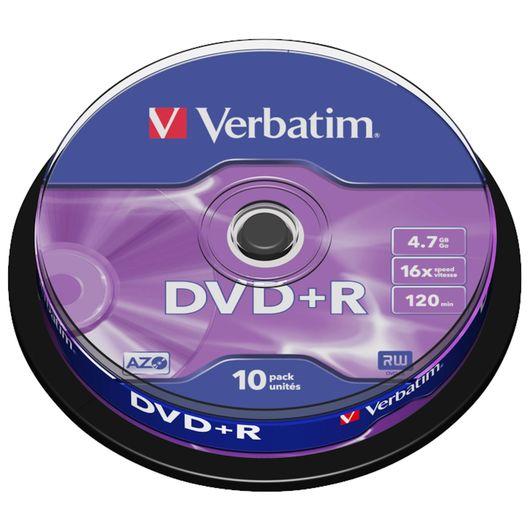 Verbatim - DVD+R 16X 4,7 GB 10-pak