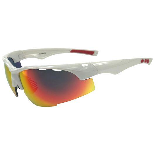 Sportsbrille - hvid/rød med changerende brilleglas
