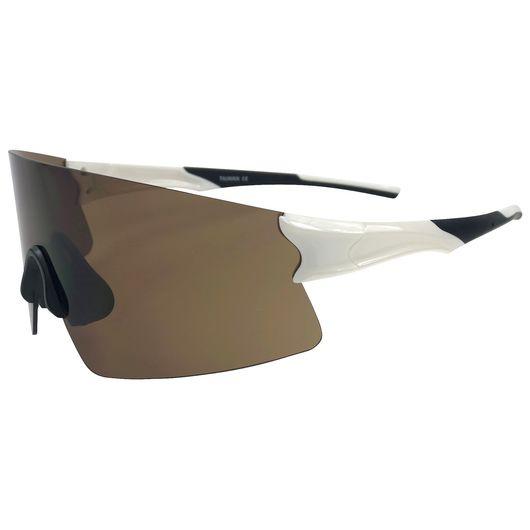 Sportsbrille - hvid/sort med brune brilleglas