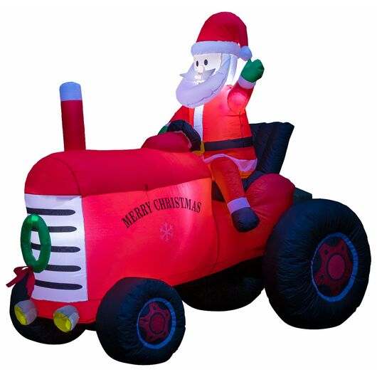 Selvoppustelig julemand på traktor - 210 cm