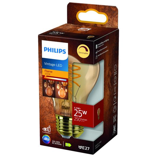 Philips LED-filamentpære 5,5W E27 A60 - dæmpbar