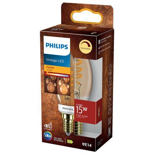 Philips - LED-filamentpære 3,5W E14 B35 - dæmpbar