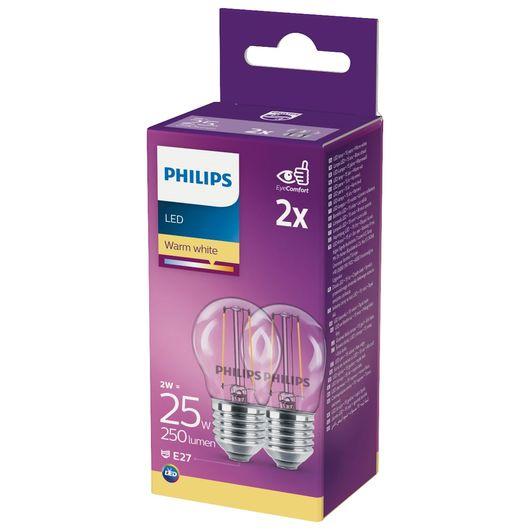 Philips - LED-filamentpære 2W E27 2-pak