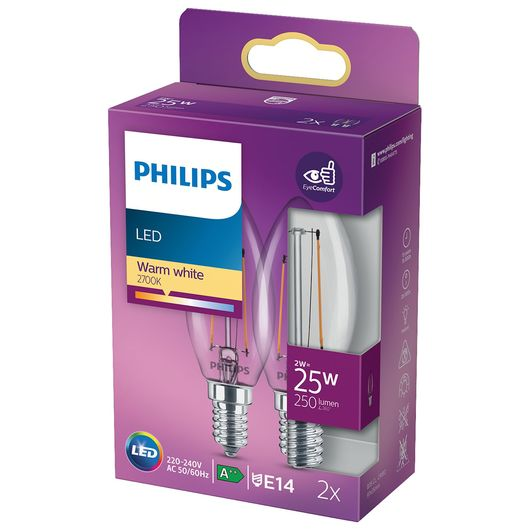 Philips - LED-filamentpære 2W E14 2-pak