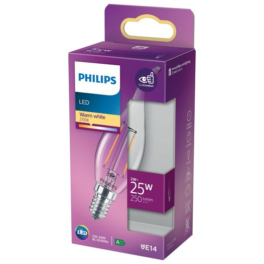 Philips LED-filamentpære 2W E14 BA35