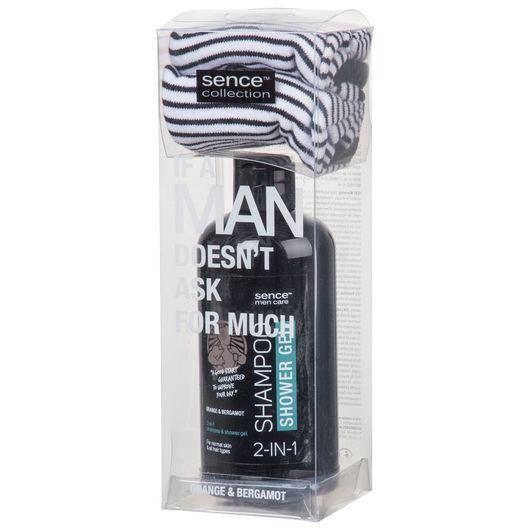 Sence - Gaveæske til mænd - shampoo og sokker ass.