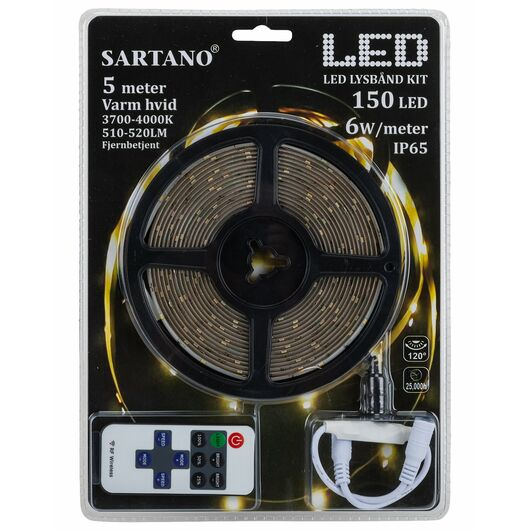 SARTANO - Flexstrip med LED og fjernbetjening - 5m
