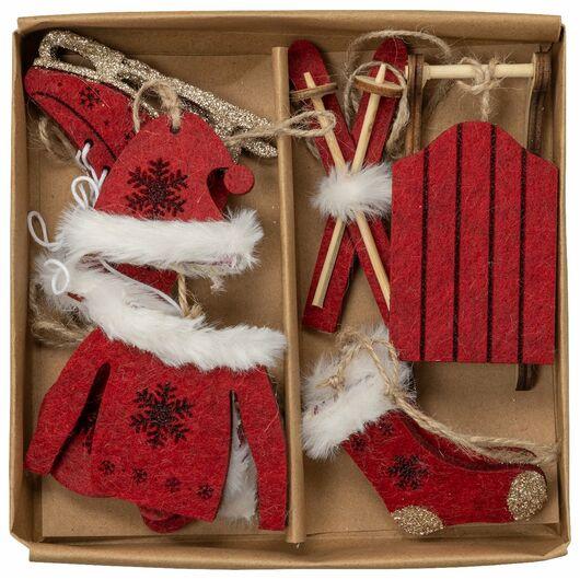 Julepynt til ophæng 10 dele - assorterede farver