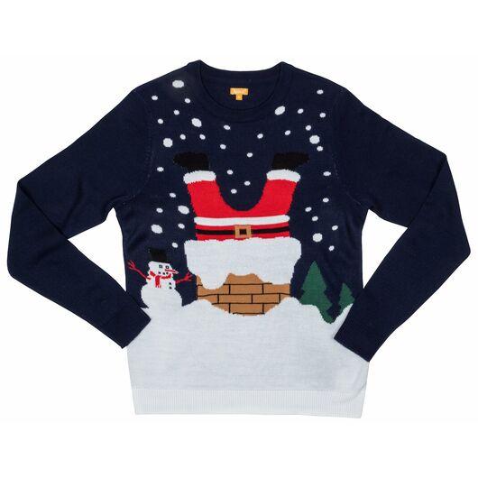 Julesweater 9 - 10 år - blå julemand