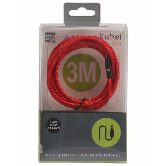 USB-A til micro USB kabel - 3 meter