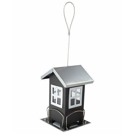 Fuglefoderhus i stål H. 19 cm - sort/grå