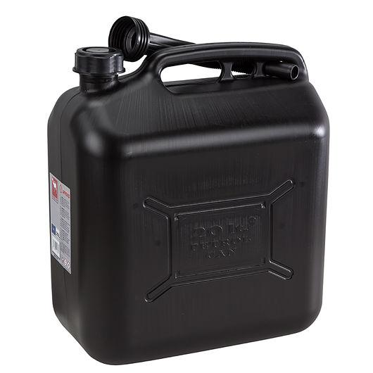 Benzindunk i sort plast 20 liter