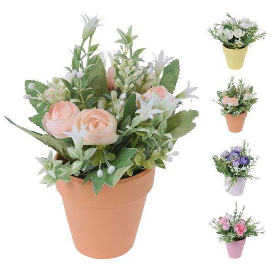 Kunstig rose i potte - 21 cm assorterede farver