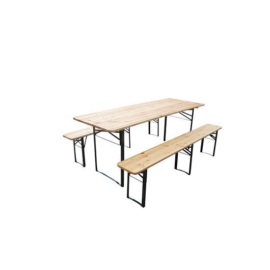 Bord og bænkesæt L. 218 cm i massiv træ