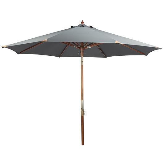 Parasol med træstok - Ø. 3 m grå