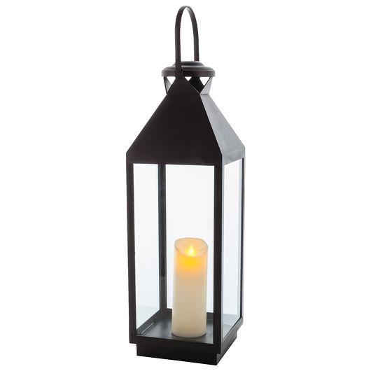Lanterne LED sort H. 60 cm