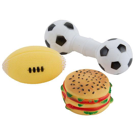 Hundepivelegetøj - bolde og burger 3 dele