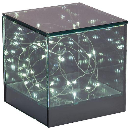 Glaskube med LED-lys H. 12 cm