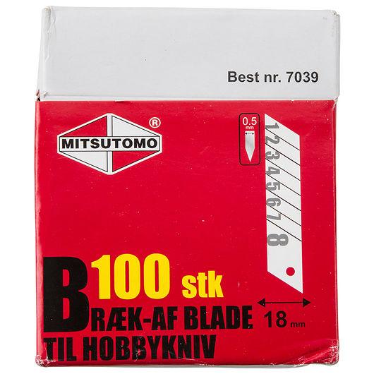 Mitsutomo - Bræk-af knivblade 18 mm 100-pak