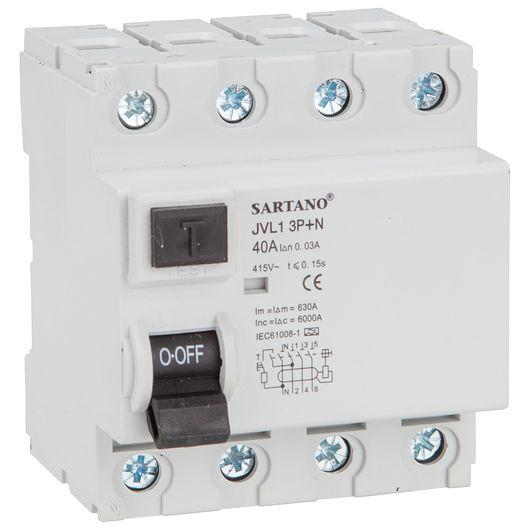 Fejlstrømsrelæ HPFI 4 pol 40 A