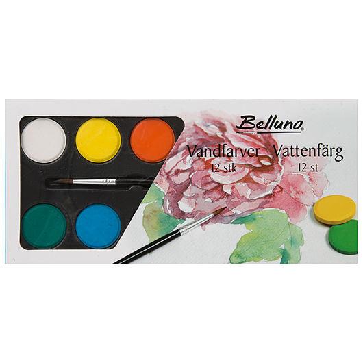 Belluno - Vandfarve Ø. 30 mm 12 farver
