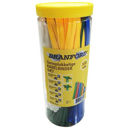 BRANFORD - Kabelbindersæt genoplukkelige 500 stk.