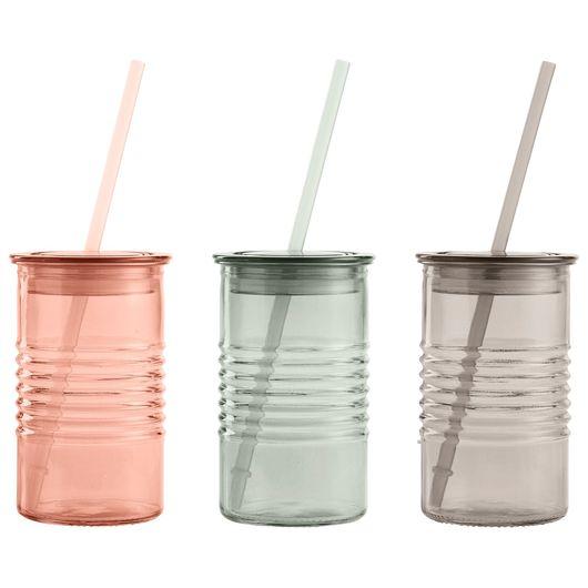Drikkeglas med sugerør 0,45 L - assorteret