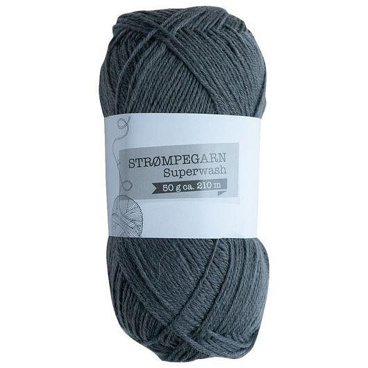 Strømpegarn 50 g - mørkegrå