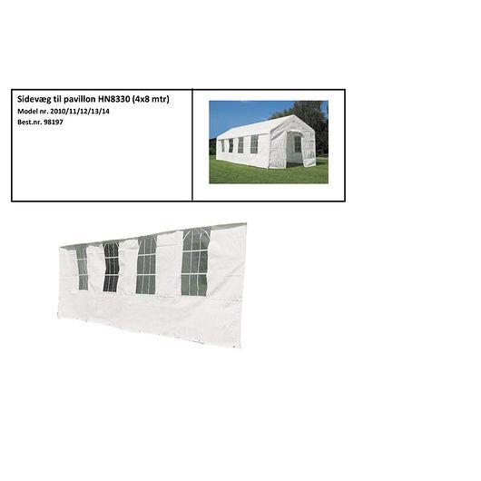 Sidevæg til Partytelt Lux 4 x 8 m hvid
